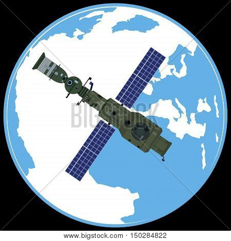 Space orbital station on the background of the Earth. The illustration on a black background.