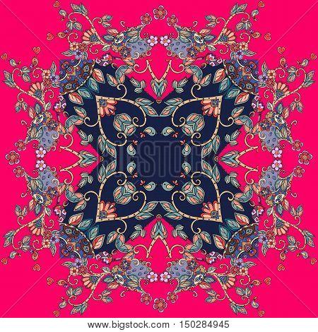 Decorative floral ornament. Bandana print. Kerchief pattern design. Lovely tablecloth. Vector illustration.