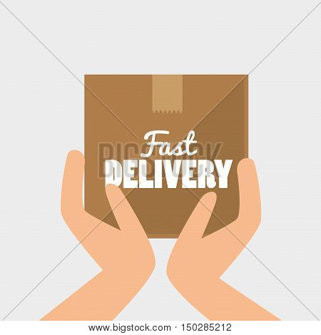 hands holding a carton box. fast delivery design. vector illustration