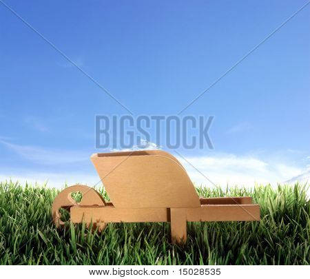 Push cart on plastic grass