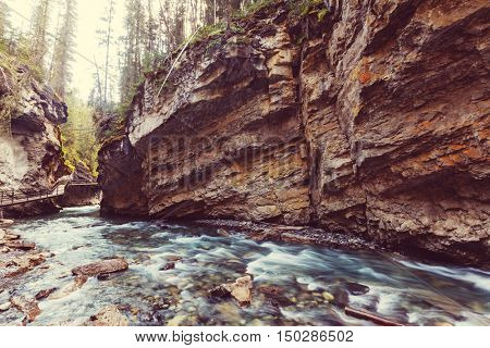 Johnston Canyon in Banff NP, Canada. Beautiful natural landscapes in British Columbia. Summer season.