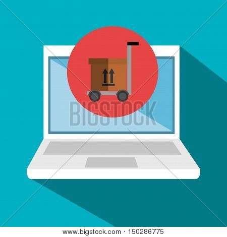 laptop computer and handcart with box delivery icon. vector illustration