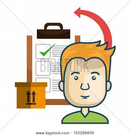 avatar man smiling with checklist report and carton box. fast delivery theme. colorful design. vector illustration