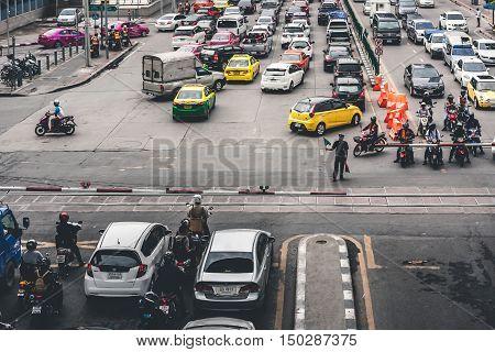 Bangkok Thailand - September 19 2016: Rush Hour With Cars And Generic Vehicles Traffic Jam In Bangkok Thailand. (Real Life Transportation Concept Mode)