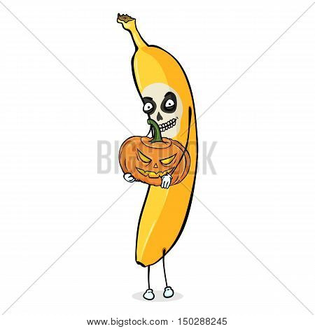 Vector Cartoon Halloween Character - Banana With Pumpkin Lantern