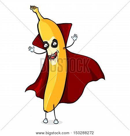 Vector Cartoon Halloween Character - Vampire Banana