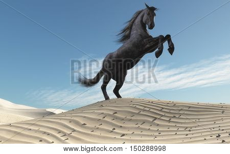 Wild horse in dune landscape. This is a 3d render illustration