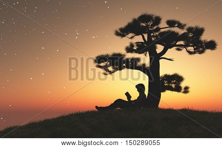 Man reading a book under a tree at sunset. This is a 3d render illustration