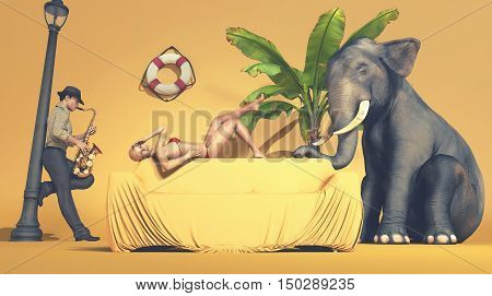 Image of a girl in a swimsuit lies down on the couch while a saxophonist play some music and an elephant standing near her. This is a 3d render illustration