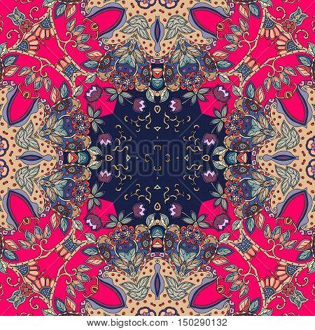 Decorative floral ornament. Bandana print or kerchief square pattern design. Silk neck scarf.