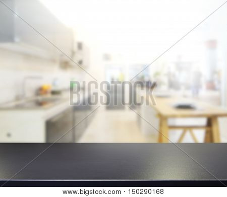 Table Top And Blur Kitchen Room Of Background