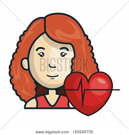 avatar woman smiling with cardio pulse heart. vector illustration