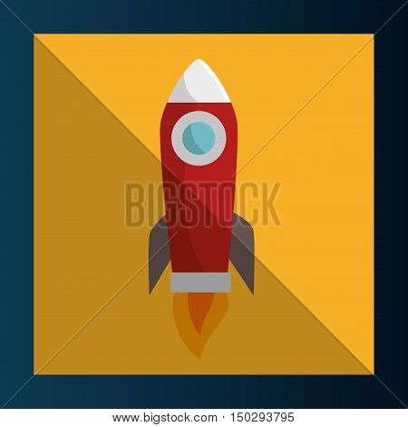 space red rocket over yellow frame background. vector illustration