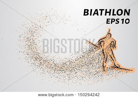 The biathlon is made up of particles. Sketch biathlon circles drifting with the wind.