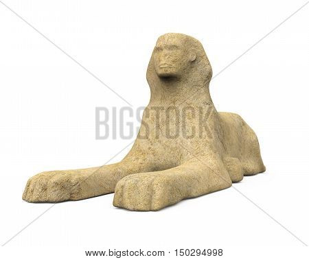 Egyptian Sphinx Statue isolated on white background. 3D render