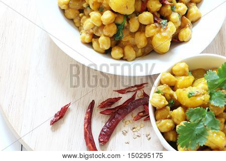Indian,Pakistan,Nepali, cuisine. Spicy chickpeas with potato curry