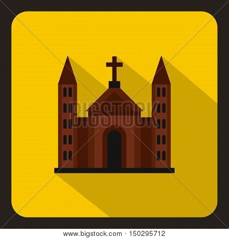 Christian catholic church building icon in flat style on a white background vector illustration