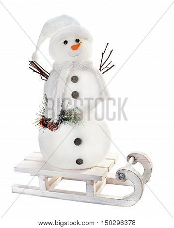 Snowman on sled isolated on white background.