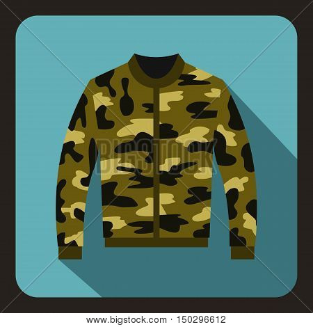 Camouflage jacket icon in flat style on a baby blue background vector illustration