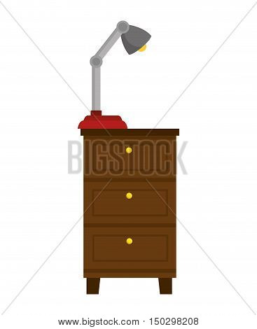 chest of drawers home furniture wooden with desk lamp. vector illustration