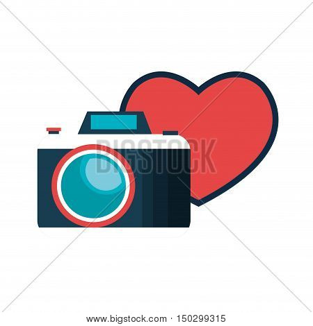 photographic camera device with red heart shape. vector illustration