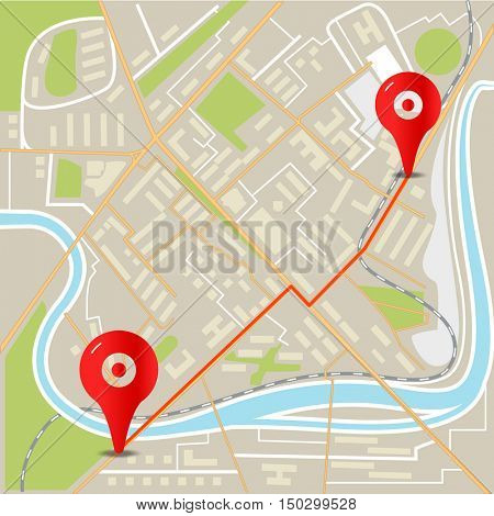 Abstract city map flat design illustration with red pins
