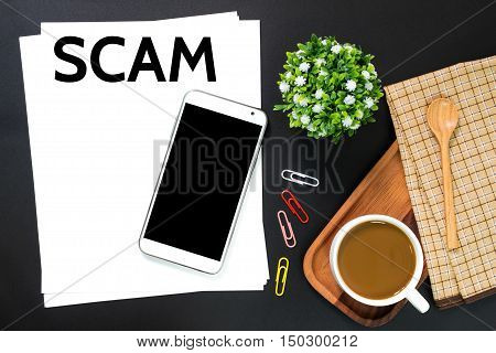 Text Scams on white paper / business concept