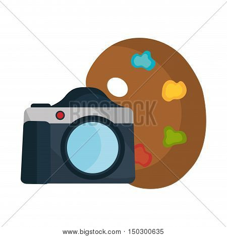 photographic camera device with art paint palette. vector illustration