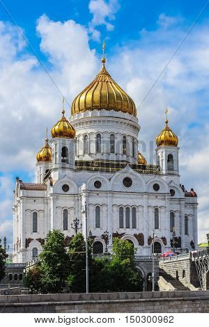 Moscow Russia - June 19 2013: Cathedral of Christ the Savior on the riverside of the Moskva River