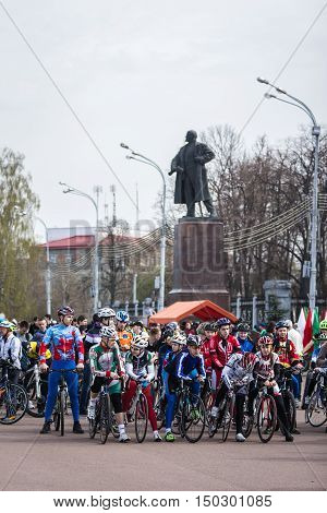Gomel Belarus - April 10 2016: Bicyclists city Gomel getting ready to start the bike ride on Lenin Square