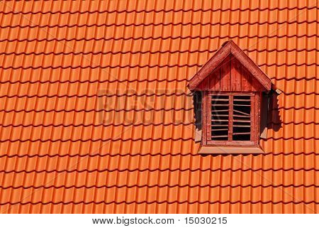 Orange roof tile in carpathians castle