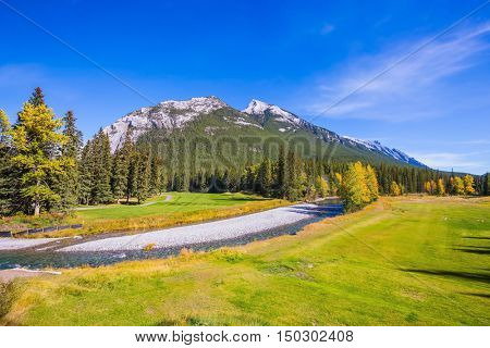 The drying-up stream among the woods and mountains of Banff. Sunny autumn day in the Rocky Mountains of Canada