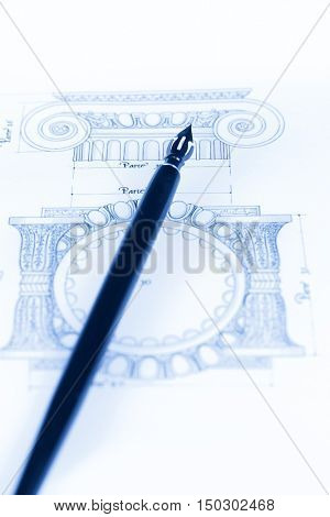 vintage fountain pen & architectural drawing - detail column