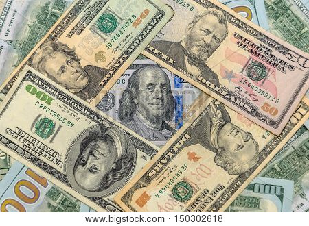 American dollar bills as background. Business concept