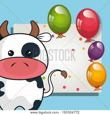 card with cute cow animal and ballons and party decorations. colorful design. vector illustration