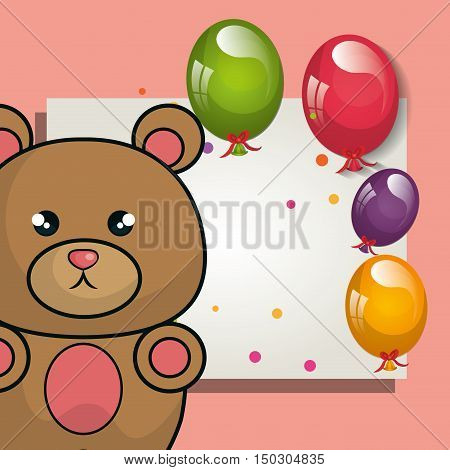card with cute bear animal and ballons and party decorations. colorful design. vector illustration