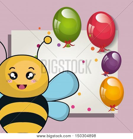 card with cute bee animal and ballons and party decorations. colorful design. vector illustration