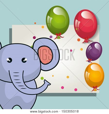 card with cute elephant animal and ballons and party decorations. colorful design. vector illustration