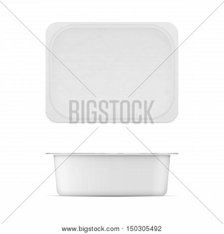 Rectangular white matt plastic tub with foil lid for dairy products. Cream cheese, butter, margarine, spread, sour cream, cottage cheese.. 200g. Realistic packaging mockup template. Top and front view