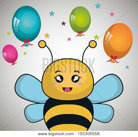 cute bee animal and ballons and party decorations. colorful design. vector illustration