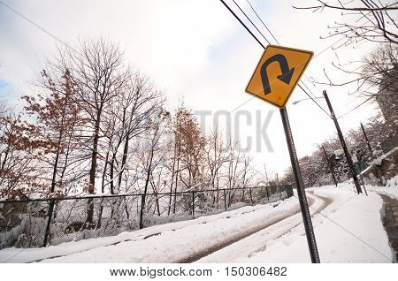 Snowy Road U Turn