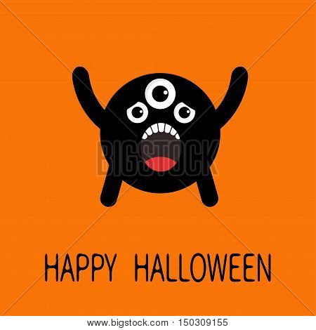 Happy Halloween greeting card. Black screaming silhouette monster with eyes teeth tongue. Funny Cute cartoon character. Baby collection. Flat design. Orange background. Vector illustration