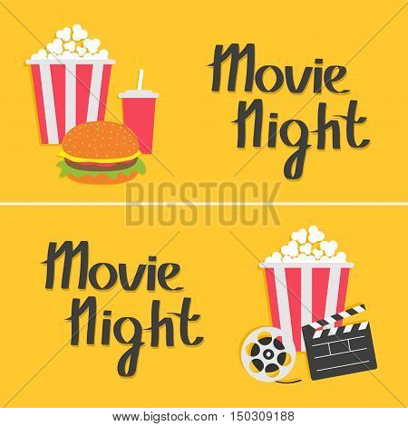 Banner set. Movie reel Open clapper board Popcorn Cinema icon collection. Movie night text. Flat design style. Yellow background. Vector illustration