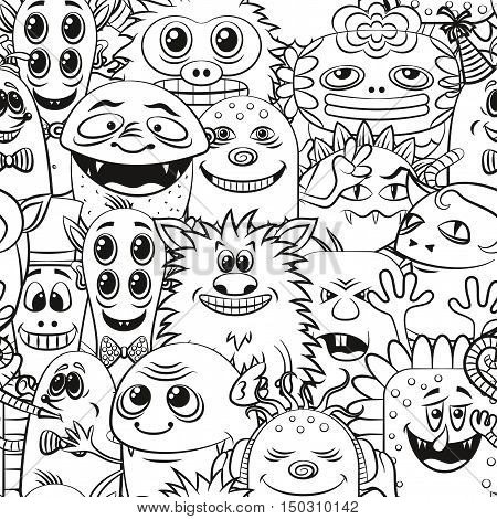 Seamless Background for your Design with Different Cartoon Contour Monsters, Black and White Tile Pattern with Cute Funny Characters. Vector
