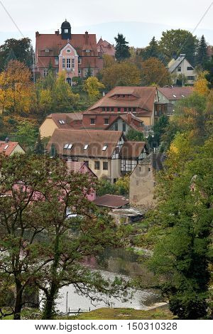 BAUTZEN GERMANY - October 27: Old town of Bautzen on October 27 2015 in Bautzen Germany. Bautzen is a hill-top town in eastern Saxony Germany