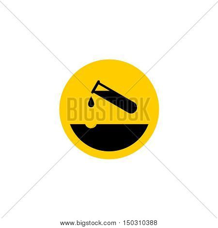 Warning Acid Icon. Test-tube With Acid Drop. Surface With Eroded Pit.