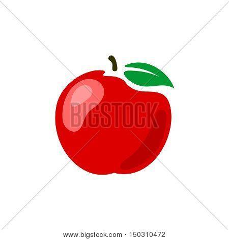 Apple Illustration. Red Fresh Apple Fruit Symbol.