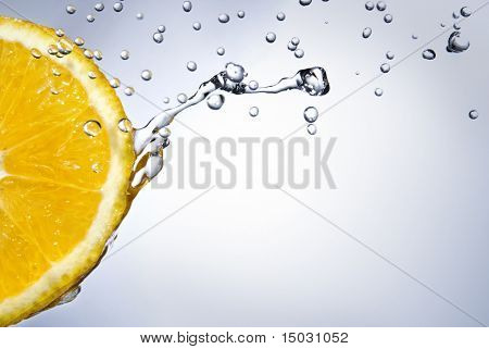 fresh water drops on orange