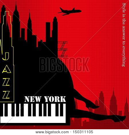 old new york background, piano and feet