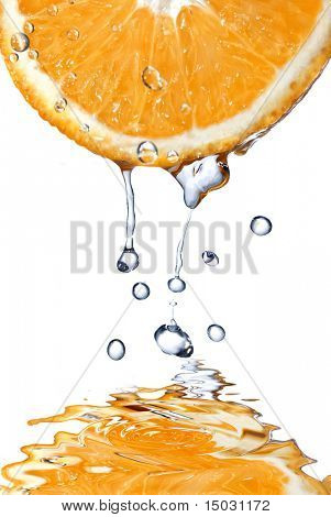 fresh water drops on grapefruit isolated on white